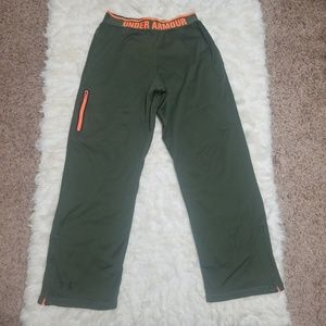 Sz M Pants UA Exercise Workout Track Green Orange